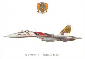 Postcard Sukhoi SU-27 Flanker-B The Russian Knights Profile Card