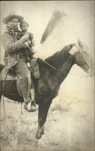 Native Indian Child & Horse w/ American Flag + Photography Real Photo Postcard