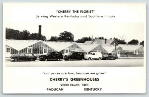 Paducah Kentucky~Cherry's Greenhouses~Delivery Fleet~Station Wagon~1950s RPPC