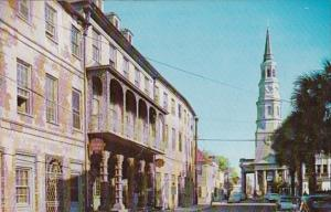 South Carolina Charleston Church Street Showing Dock Street Theatre and St Ph...