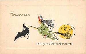 Halloween Postcard Old Vintage Post Card Witch, Moon, Bat Unused
