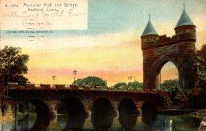 Connecticut Hartford Memorial Arch and Bridge 1911 Rotograph