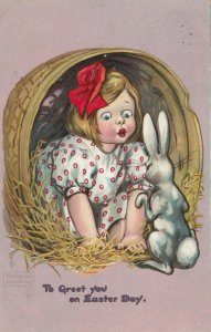 AS; KATHARINE GASSAWAY, 1908; Greet You on Easter Day, Girl, Rabbit; TUCK # 130
