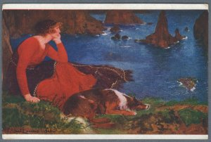 Old Postcard Sad Girl in Red Dress Sea Shore w. Dog Collie by P. Albert Laurens