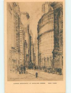 1930's artist signed LOWER BROADWAY AT BULLING GREEN New York City NY hs3414