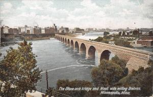 Minneapolis Minnesota~Stone Arch Bridge~West Side Flour Mills~Smokestacks~1905