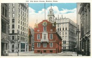 Boston Massachusetts~Little Red State House Surrounded by Skyscrapers~1915 PC