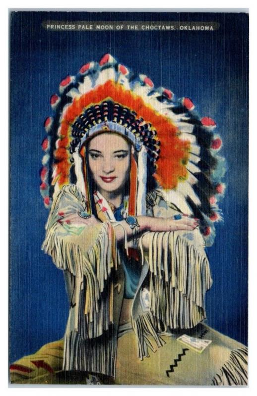1945 Princess Pale Moon of the Choctaws, OK Postcard