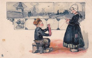 Dutch boy helping girl form a ball of yarn, Windmills, Bonnet, 00-10; TUCK#6772