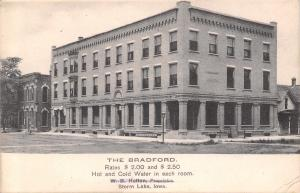 Storm Lake Iowa~The Bradford Hotel~Rates $2~This Is Where I Work~1911 Postcard