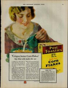 1927 Post Toasties Corn Flakes Cereal Milk Vintage Print Ad 3881