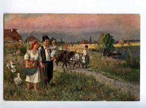 223740 RUSSIA LVOV on holiday UKRAINE VILLAGE #130 postcard