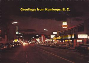 Street at night , KAMLOOPS , B.C. , Canada , PU-1974