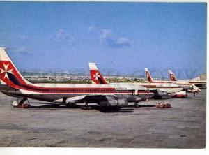 128580 MALTA Luqa Airport AIR MALTA BOEINGS photo postcard