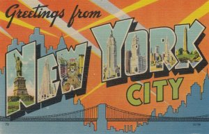 Large Letter Greetings from NEW YORK CITY,  30-40s