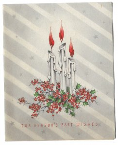 VINTAGE 1940s WWII ERA Christmas Greeting Card Candles Red Berry Holly HOLIDAY