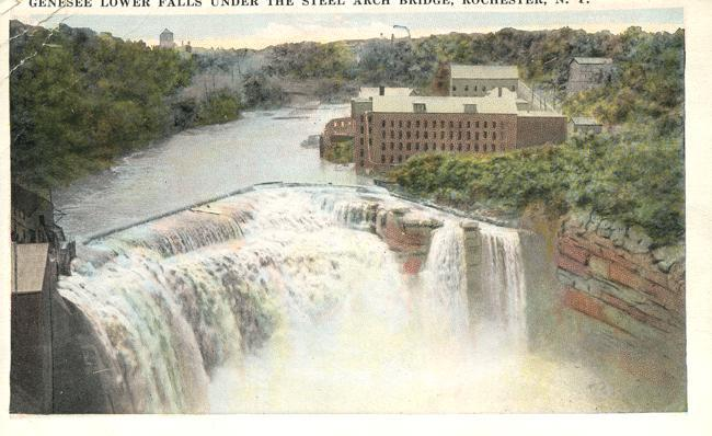 Genesee River at Lower Falls - Rochester, New York - WB