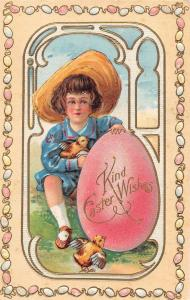 Easter Greetings Boy with Chicks and Giant Egg Antique Postcard J55672