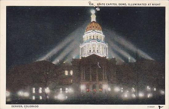 Colorado Denver State Capital Dome Illuminated At Night