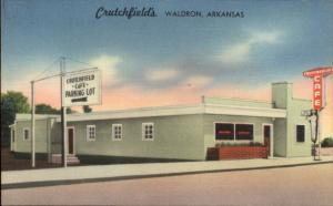 Waldron Arkansas AR Crutchfield's Caf' Linen Roadside Postcard