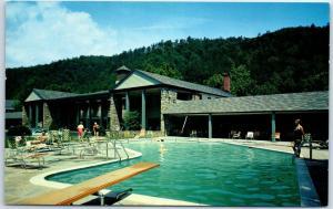 Gatlinburg, Tennessee Postcard RIVERSIDE HOTEL Swimming Pool Scene 1959 Cancel