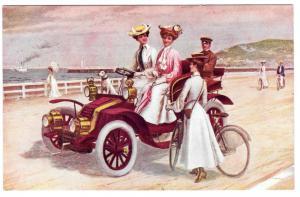 A Seaside Run Edwardian Women Automobile Bicycle Postcard