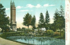 Reservoir Park and Water Tower St. Louis MO Old View Pre-Linen  Postcard