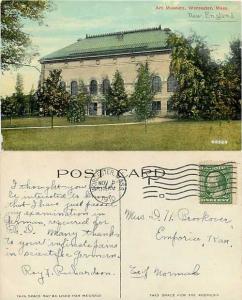 Art Museum, Worcester, Massachusetts, MA, 1910 Divided Back