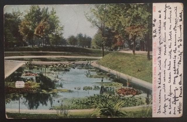 Lilly Pond Lincoln Park, Chicago, ILL. 1909 A.C. Bosselman & Co. 1673