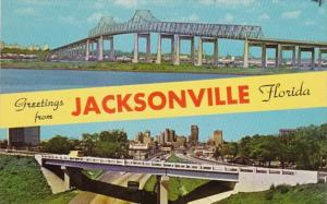 Florida Jacksonville Greetings Showing Skyline and John E Mathews Bridge