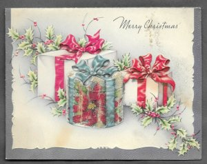 VINTAGE 1940s WWII ERA Christmas Greeting Holiday Card GLITTER PRESENTS HOLLY