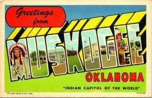 Vtg Linen Postcard Large Letter Greetings From Muskogee Oklahoma OK UNP CT
