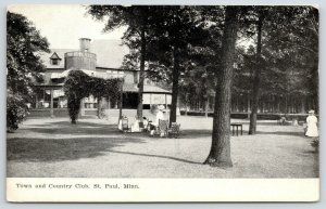 St Paul MN~Town Country Club~Victorian Ladies Have Tea~Lawn Rocking Chairs~1910
