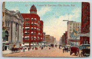 Omaha Nebraska~Farnam Street East @ 17th Street~Horse & Buggy~1914