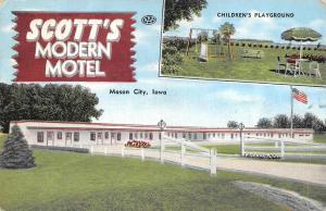 MASON CITY,  IA  Iowa  SCOTT'S MODERN MOTEL  Playground  Roadside  1954 Postcard