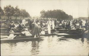 Oxford? UK- Boating Scene c1910 Real Photo Postcard #1