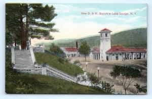 Postcard NY Lake George D&H Railroad Train Station Depot 1919 View K14