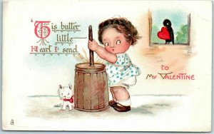 Vintage VALENTINE'S DAY Romance Postcard Girl / Butter Churn / Cat TUCK'S #25