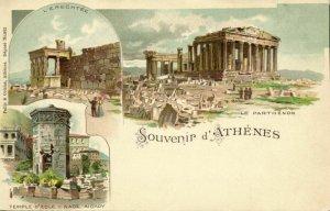 greece, ATHENS ATHENES, Erechtheum, Temple of Eole, Parthenon (1899) Postcard