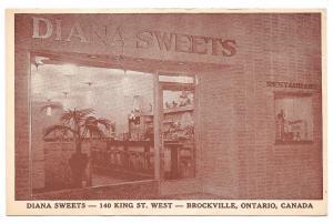 Canada Brockville Ontario Diana Sweets Restaurant Postcard Vintage