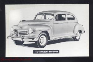 1947 PLYMOUTH SEDAN VINTAGE CAR DEALER ADVERTISING POSTCARD STORM LAKE IOWA