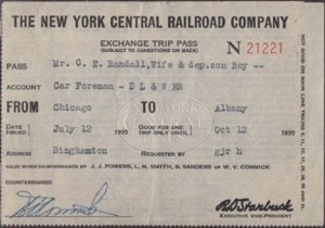 THE NEW YORK CENTRAL RAILROAD COMPANY, Exchange Trip Pass Chicago to Albany 1935