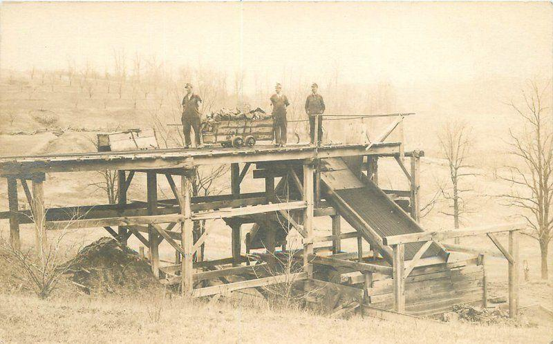c1910 Occupation Worker Mining Railroad Ore Cart Chute Dump RPPC Real Photo