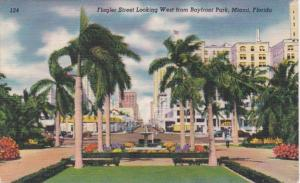 Florida Miami Flagler Street Looking West From Bayfront Park 1949