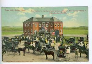 Groton CT Town Hall Horses Street View Postcard