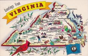 Greetings From Virginia With Map 1970