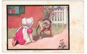 Bulldog Sunbonnet Girl Peek-a-boo Artist Dorothy Dixon