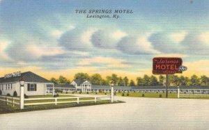 THE SPRINGS MOTEL Lexington, Kentucky Roadside 1953 Linen Vintage Postcard