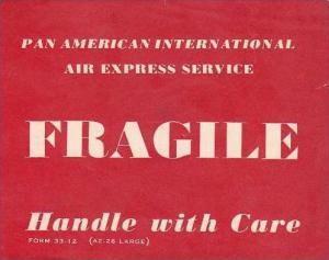 PAN AMERICAN INTERNATIONAL AIR EXPRESS VINTAGE AVIATION LABEL
