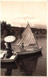 Japan Old Vintage Antique Post Card On a boat Real Photo Writing on back